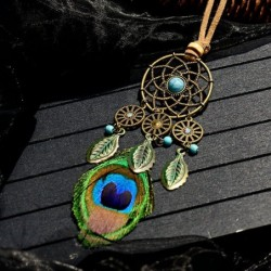 Long necklace with peacock feather - dreamcatcher - leather rope