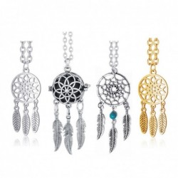 Ethnic style necklace - dreamcatcher with stainless steel feathers