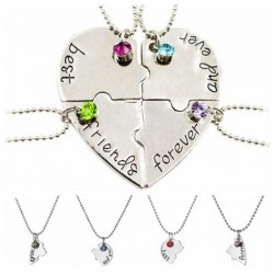 """""""Best Friends Forever and Ever"""" - heart shaped necklace with crystals - 4 pieces"""