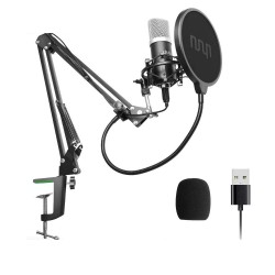 Podcast condenser microphone - professional PC streaming cardioid - kit - USB - 192kHZ/24bit