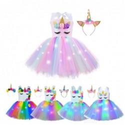 Unicorn dress - costume for girls - with headband / LED lights