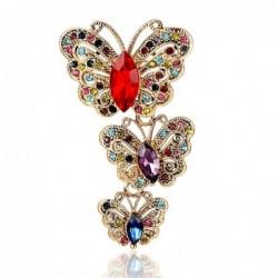 Vintage brooch with triple crystal butterflies
