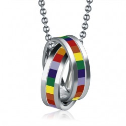 Rainbow double rings pendant - stainless steel necklace