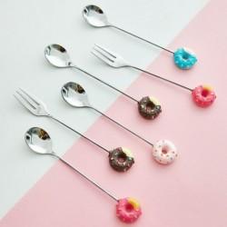 Dessert fork / spoon - with decorative doughnut - stainless steel