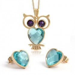 Necklace with crystal owl / earrings - jewelry set
