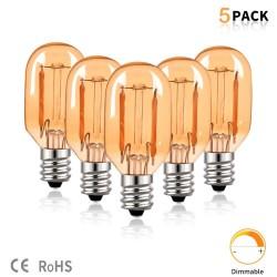 Vintage LED bulb - Edison tube - T22 - 2200K - E12 / E14 - 1W - dimmable - amber glass - 5 pieces