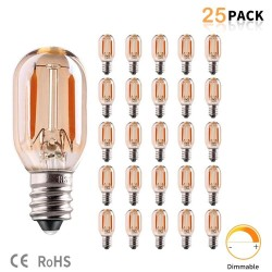 Vintage LED bulb - Edison tubular - T22 - E12 - E14 - 1W - dimmable - 2200K gold - 25 pieces