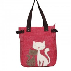 Classic canvas bag with printed cat