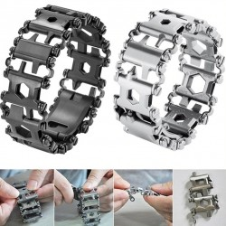 29 in 1 multi tool - stainless steel bracelet - screwdriver / bottle opener / allen wrench