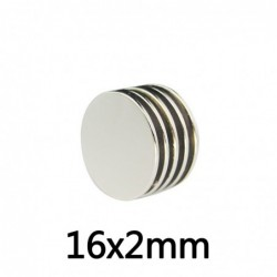 N35 - neodymium magnet - strong round disc - 16 * 2 mm
