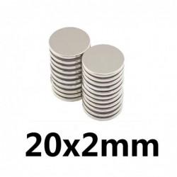 N35 - neodymium magnet - strong round disc - 20 * 2mm