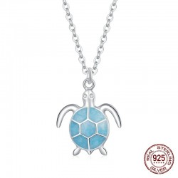 Elegant necklace with blue turtle - 925 sterling silver