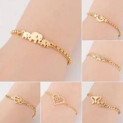 Elegant stainless steel bracelet - elephants / butterflies / hearts