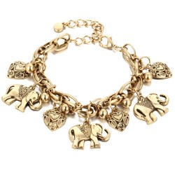Vintage bracelet - with elephants / pearls / safety pin