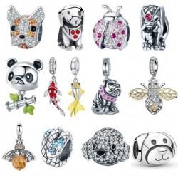 Charms / beads / pendants - for bracelet - 925 sterling silver - ladybug - cat - bulldog - turtle - elephant - bee
