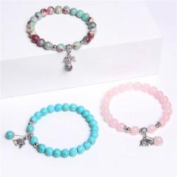 Fashionable bracelet with elephant - natural stone - chalcedony / turquoise / shoushan stone / malachite / quartz