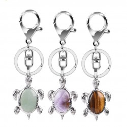 Keychain with turtle - natural crystal stone