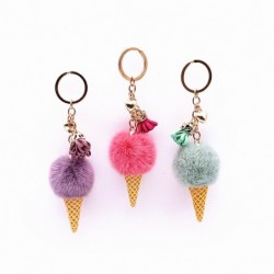 Metal keychain - with a fluffy ice cream pendant