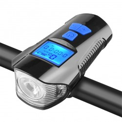 Bicycle front light - with bike computer - speedometer - LCD - USB - waterproof