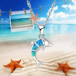 Silver necklace with a colorful opal dolphin