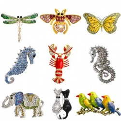 Retro crystal brooch with insects - dragonfly / butterfly / bee / elephant / cats / birds / sea horse