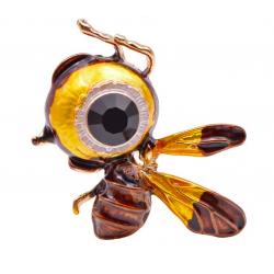 Big eye bee - rhinestone brooch
