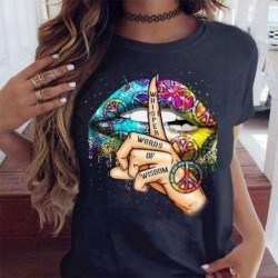 Lips / whisper words / watercolor graphic - trendy short sleeve t-shirt
