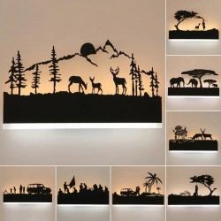 Romantic wall light - acrylic lamp - with animals - warm / cold white