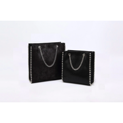 Retro shoulder bag - with rivets / chain strap - leather