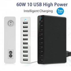Multiple ports USB charger - fast charging - 5 / 6 / 10 ports - 60W