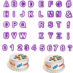 Plastic cake mold - cookie cutter - alphabet letters / numbers - 40 pieces
