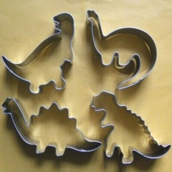 Cookie cutter mold - dinosaurs shaped - stainless steel - 4 pieces