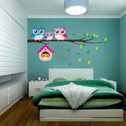 Owl / birds - removable vinyl wall sticker