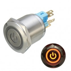 6 Pin 22mm 12V Led light metal push button latching switch