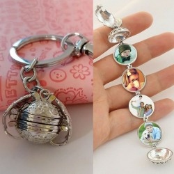 Expandable photo locket keyring