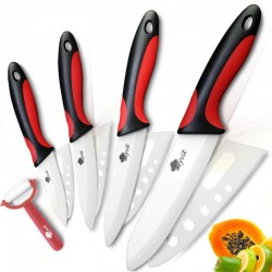A set of ceramic knives with a peeler