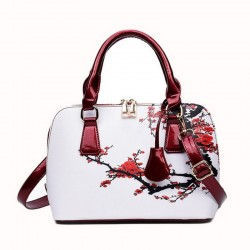 Leather bag with floral print