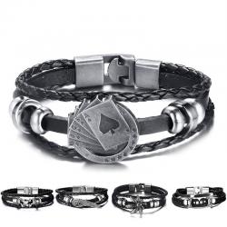 Vintage multilayer leather lucky bracelet